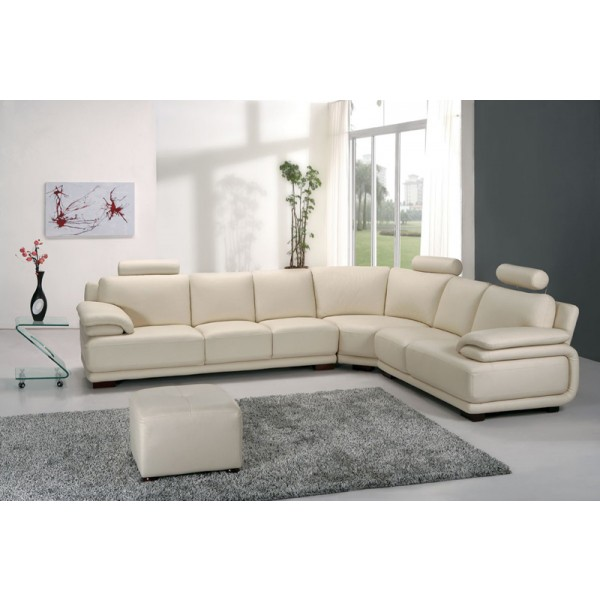 Canapé d'angle en cuir GRENOBLE + pouf - 7 places