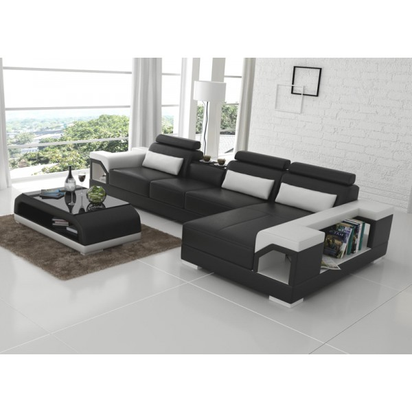 canap d 39 angle en cuir nimes option lit convertible pop design. Black Bedroom Furniture Sets. Home Design Ideas
