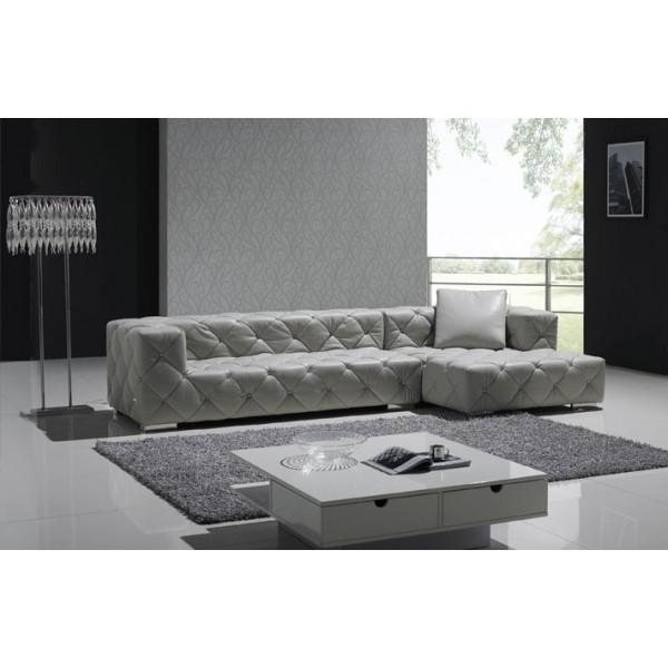canap d 39 angle en cuir pleine fleur chesterfield carr. Black Bedroom Furniture Sets. Home Design Ideas