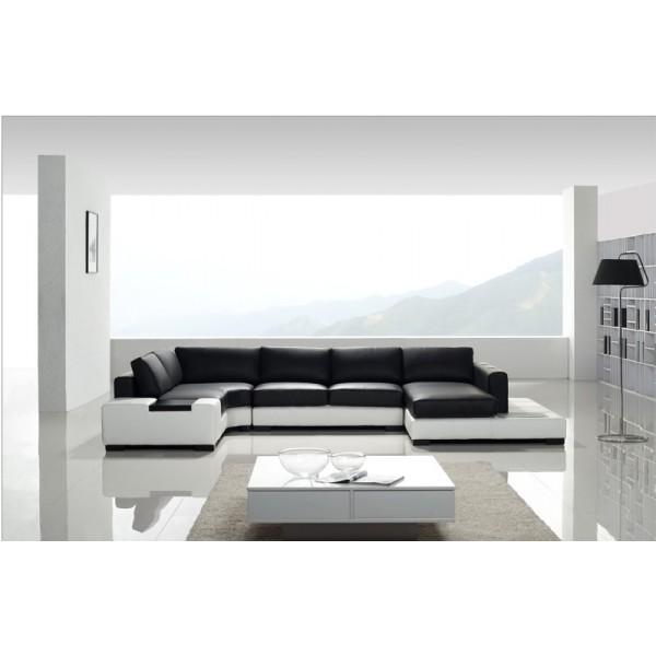 Canapé d'angle panoramique en cuir California + éclairages