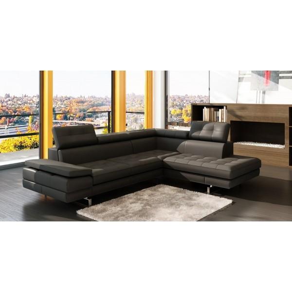Canapé d'angle en cuir ROANNE