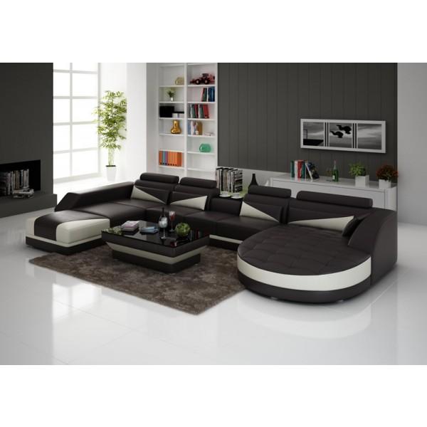 Canapé d'angle panoramique en cuir SAMILO (miniature)