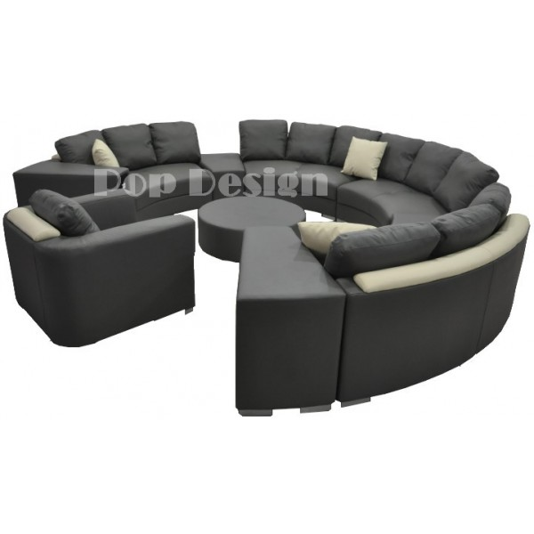 Canapé rond en cuir ALICANTE (12 places) + fauteuil + table basse