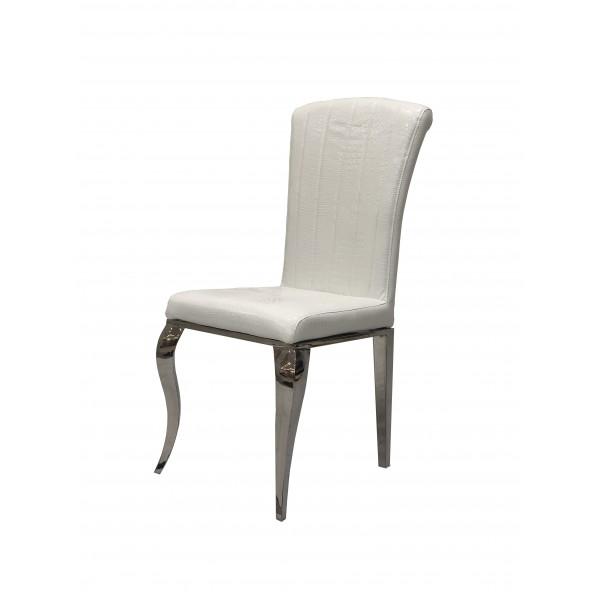 Chaises de salle à manger ALICE inox argenté en simili-cuir Blanc Croco - lot de 6