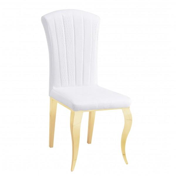 Chaises de salle à manger ALICE inox doré en simili-cuir Blanc Croco - lot de 6
