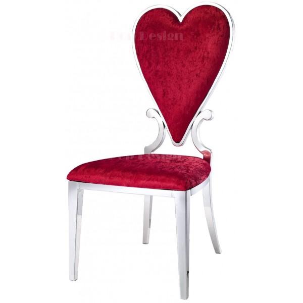 Chaise en inox et velours As de coeur - Lot de 6