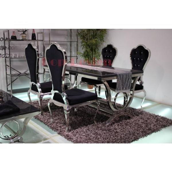 Chaises de salle à manger en inox VIRTUOSE  - lot de 6