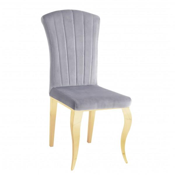 Chaises de salle à manger ALICE inox doré en velours Gris - lot de 6