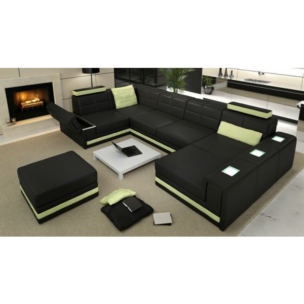 canap d 39 angle panoramique en cuir pleine fleur strasbourg pop desig. Black Bedroom Furniture Sets. Home Design Ideas