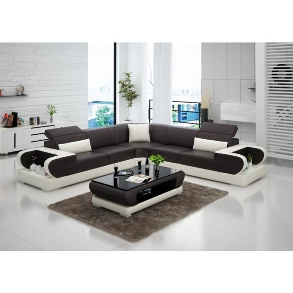 Grand canapé d'angle en cuir Magnolia L