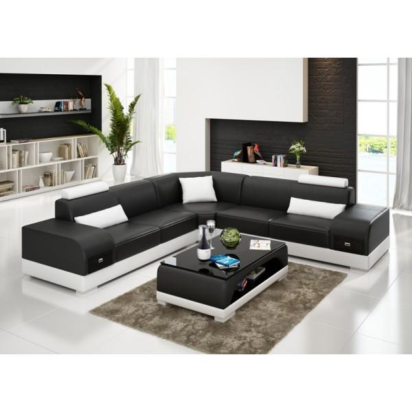Grand canapé d'angle en cuir ALMERIA