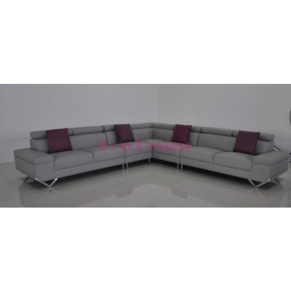 Grand canapé d'angle en cuir véritable Siena 350x350