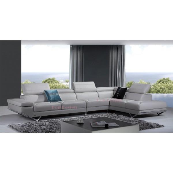 Grand canapé d'angle en cuir véritable Siena