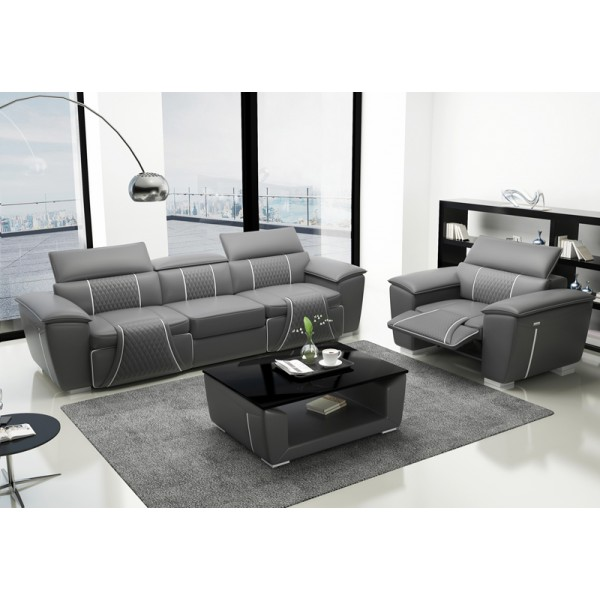 Canapé d'angle en cuir relax + fauteuil relax MINOS (gris)