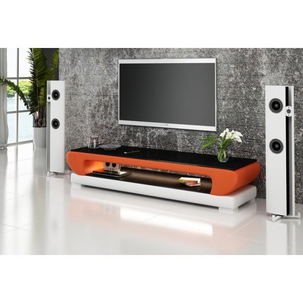 Meuble TV design personnalisable Magnolia avec éclairages simili-cuir