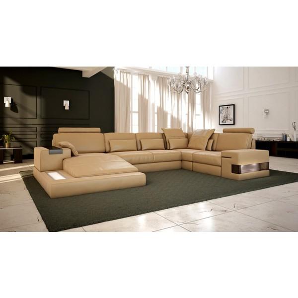 Canapé d'angle panoramique en cuir CUBO avec éclairages