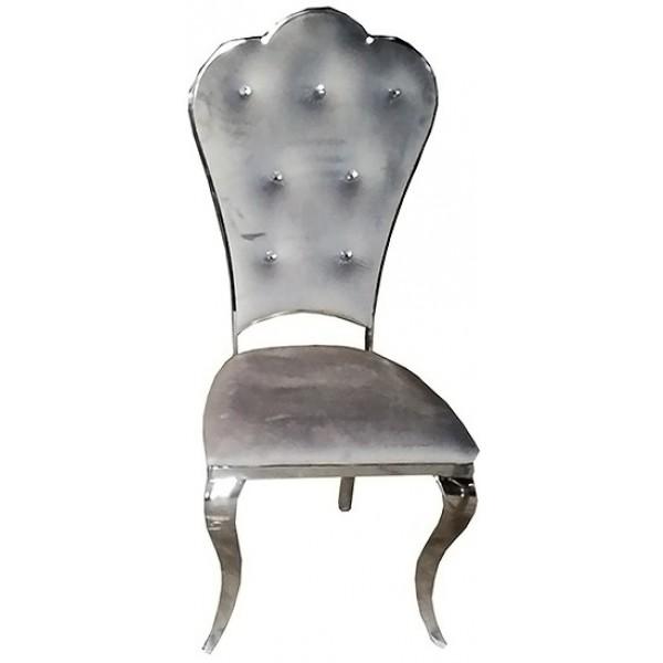 Chaises de salle à manger Jadis velours gris - Lot de 4