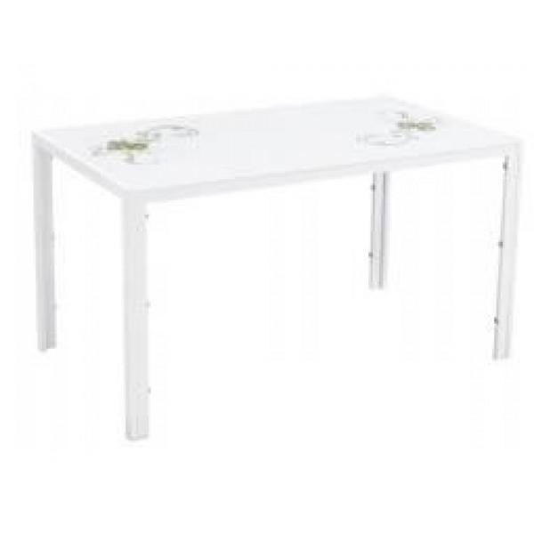 Table De Salle À Manger Jamie Blanc Fleuri 140x80