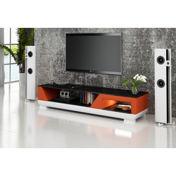 Meuble TV design personnalisable Klin avec éclairages simili-cuir