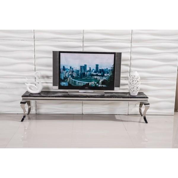 Meuble TV Duchesse en marbre / verre et inox