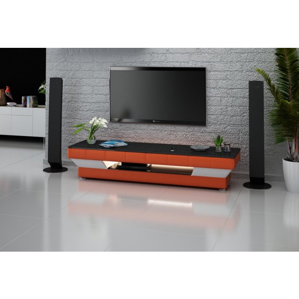 Meuble TV personnalisable Jazz avec éclairages simili-cuir