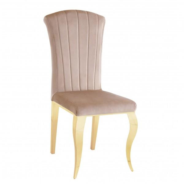 Chaises de salle à manger ALICE  inox doré en velours Moka - lot de 6