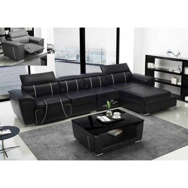 Canapé d'angle en cuir relax MINOS (noir)
