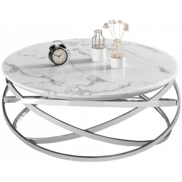 Table basse ronde Gravity chrome argenté marbre blanc