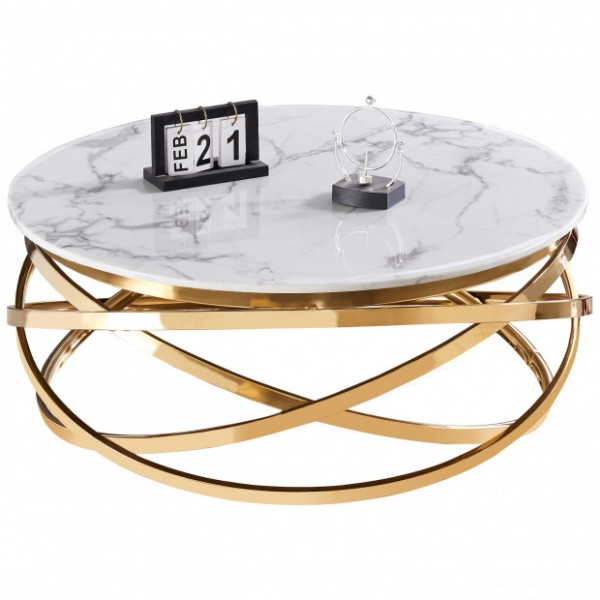 Table basse ronde Gravity  doré or