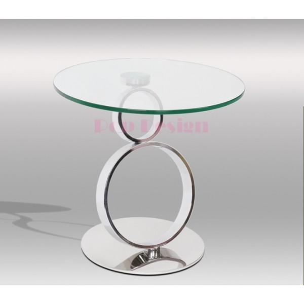 Table basse inox et verre ANO