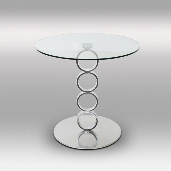 Table basse en inox et verre OLYMPE