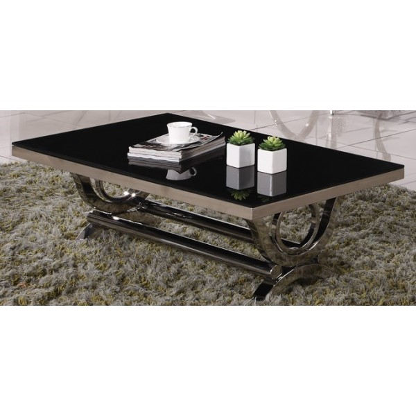 681f19f797c5d Table basse inox et verre marbre VIENNA - Tables   Consoles