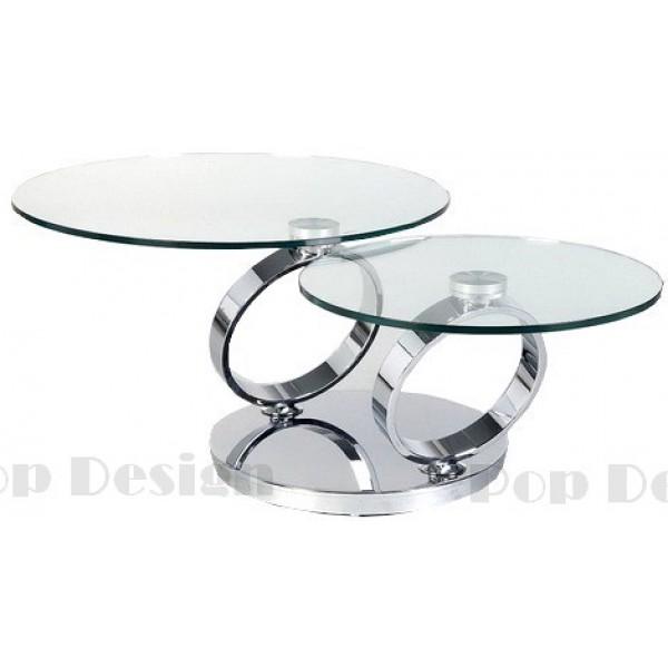 Table basse plateaux pivotants BASILOS socle inox effet miroir