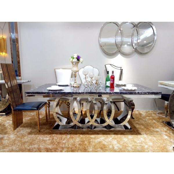 Table de salle à manger OLYMPE - verre et inox
