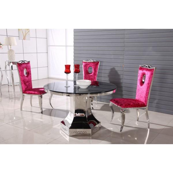 Table ronde en verre et inox simon tables de salle for Table de salle a manger ronde en verre
