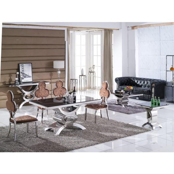 Table console JAIPUR en inox et verre/marbre