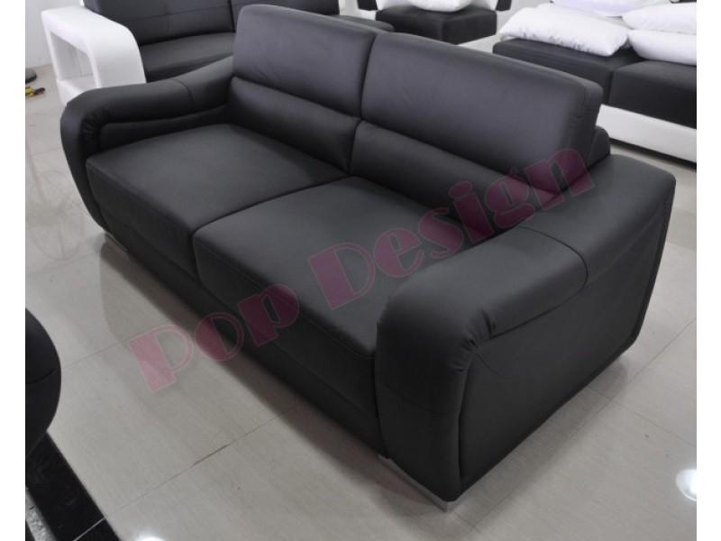 Canap 3 places en cuir v ritable office pop - Canape cuir destockage ...