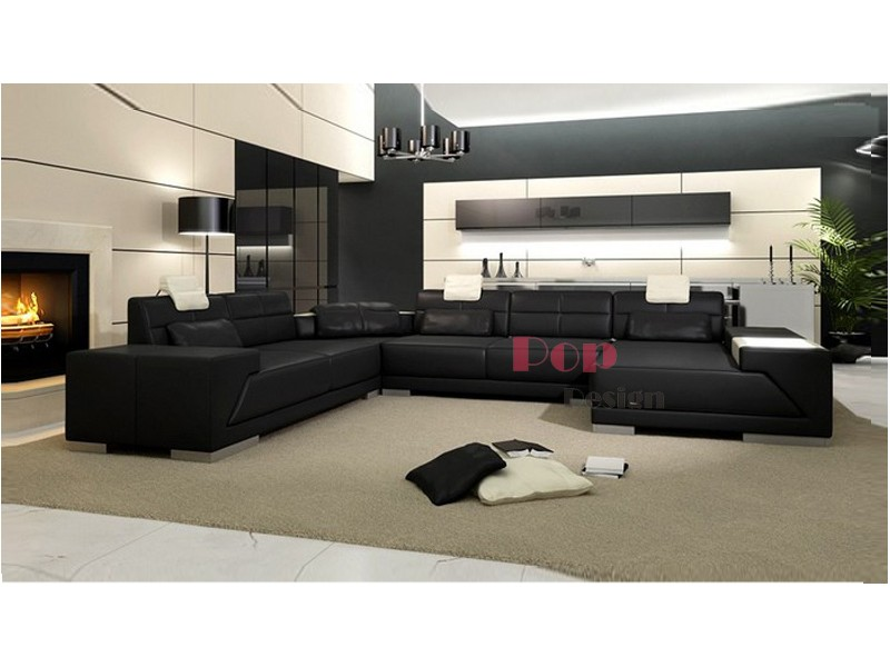 canap d 39 angle panoramique en cuir v ritable vienna pop. Black Bedroom Furniture Sets. Home Design Ideas