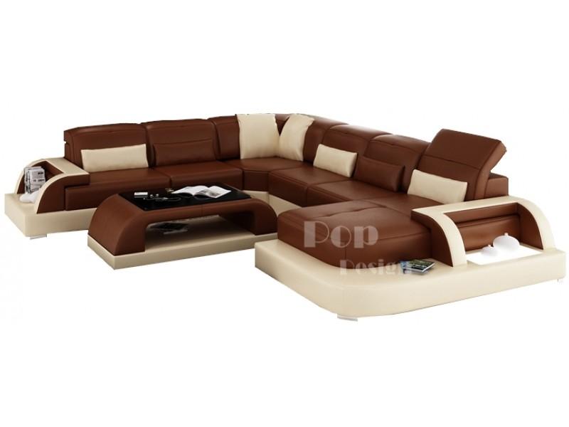 Canap d 39 angle panoramique design en cuir v ritable bolzano xl for Dessus de canape d angle
