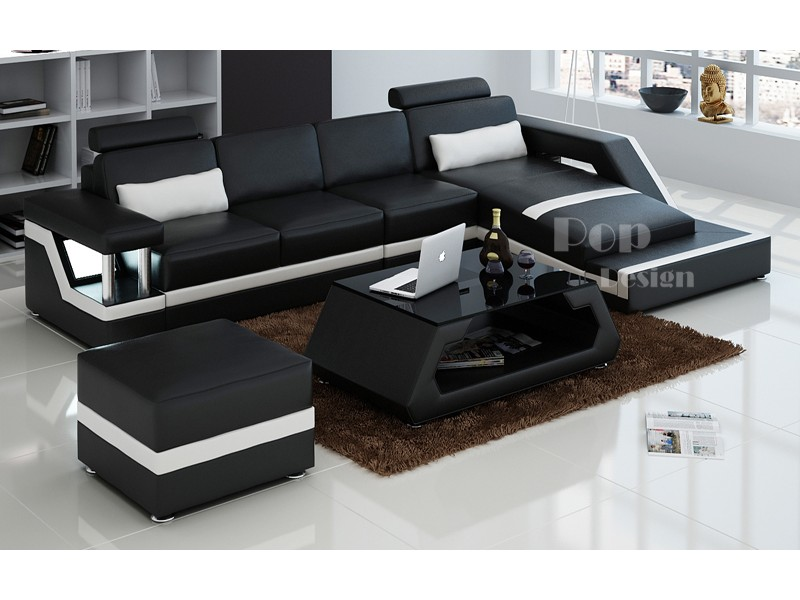 canap d 39 angle design en cuir v ritable tosca pouf pop. Black Bedroom Furniture Sets. Home Design Ideas