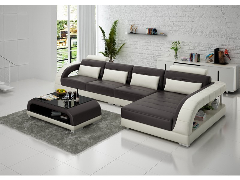Canap d 39 angle en cuir pleine fleur enzo pop for 7 seater living room