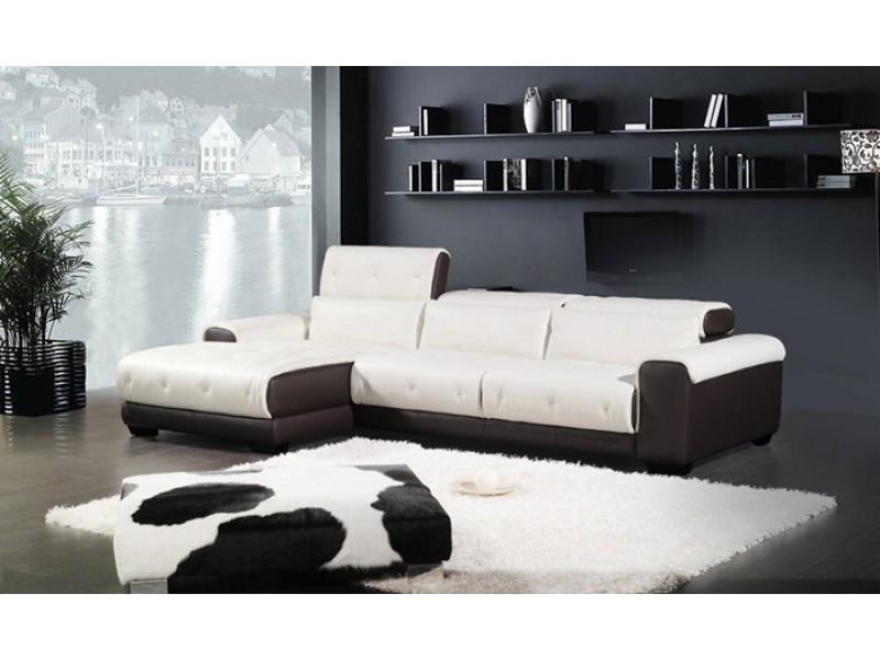 canap d 39 angle en cuir pleine fleur houston pop. Black Bedroom Furniture Sets. Home Design Ideas