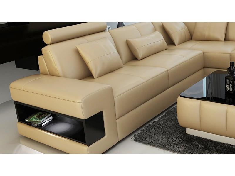 canap d 39 angle en cuir pleine fleur reims clairage et rangements. Black Bedroom Furniture Sets. Home Design Ideas