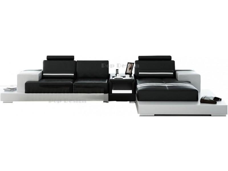 canap d 39 angle en cuir v ritable pino table int gr e. Black Bedroom Furniture Sets. Home Design Ideas