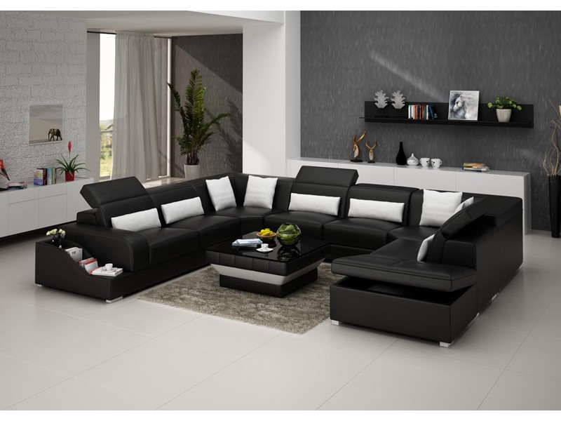 canap d 39 angle panoramique en cuir jazz 8 places avec coffre de rang. Black Bedroom Furniture Sets. Home Design Ideas