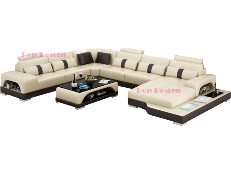 canap d 39 angle panoramique en cuir lyon avec clairage. Black Bedroom Furniture Sets. Home Design Ideas
