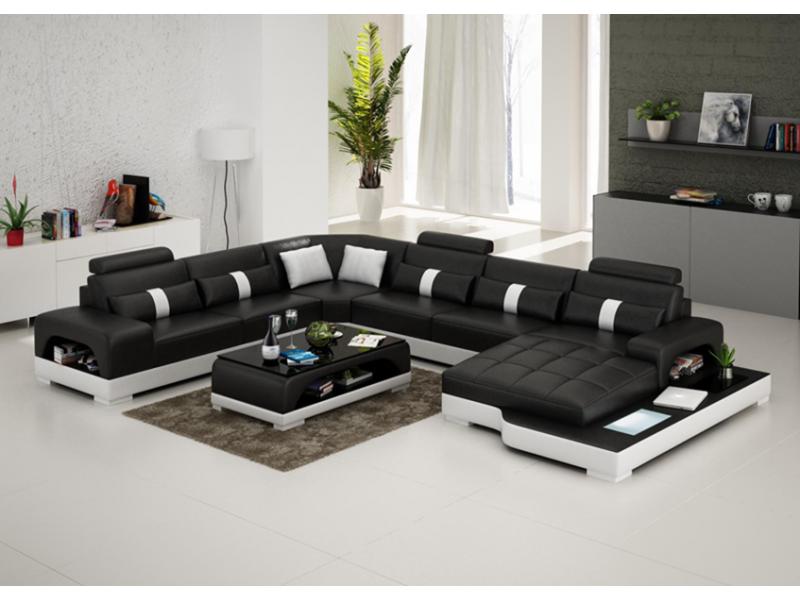 canap d 39 angle panoramique en cuir lyon avec clairage pop design. Black Bedroom Furniture Sets. Home Design Ideas