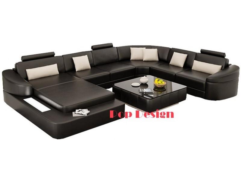 canap d 39 angle panoramique en cuir pleine fleur rennes. Black Bedroom Furniture Sets. Home Design Ideas