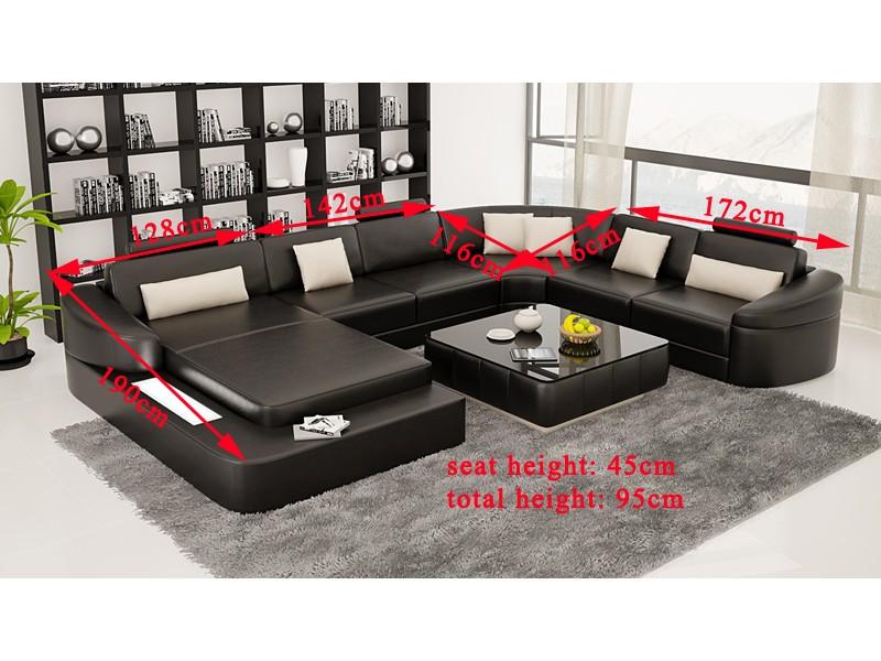 canap d 39 angle panoramique en cuir pleine fleur rennes pop. Black Bedroom Furniture Sets. Home Design Ideas
