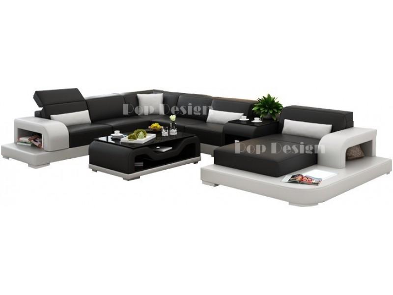 canap d 39 angle panoramique en cuir pleine fleur sofia. Black Bedroom Furniture Sets. Home Design Ideas